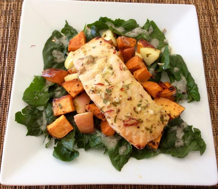 Salmon, Sweet Potato and Apple Roast