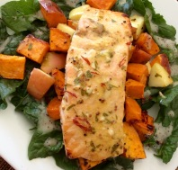 Salmon, Sweet Potato and Apple Roast