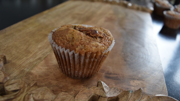 Applesauce Date Bran Muffins with Chocolate Chips