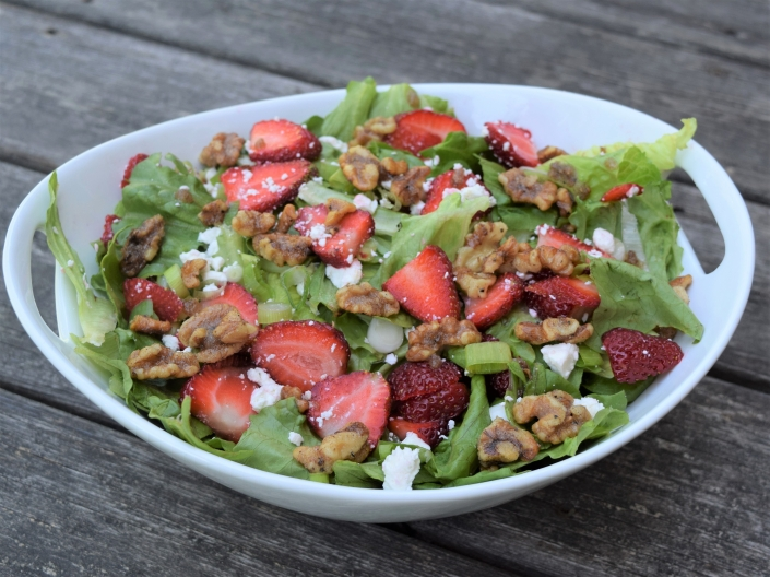Summer Strawberry Salad with Candied Walnuts
