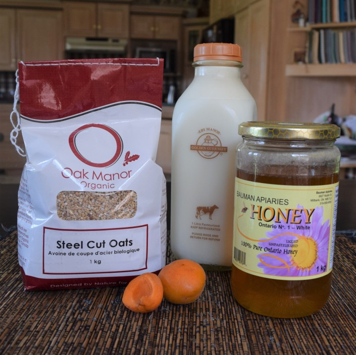 Steel-cut Oats, Apricots, Guernsey Milk, and local Honey!