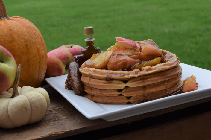 Pumpkin Buttermilk Waffles with Honeycrisp Apple Topping (2)
