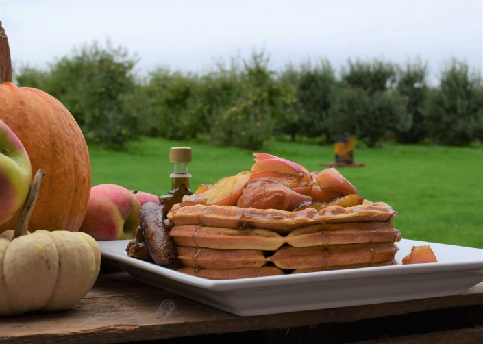 Pumpkin Buttermilk Waffles with Honeycrisp Apple Topping