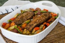 Maple-Glazed Pork Loin over Roasted Vegetables