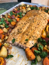 Sheet Pan Salmon, ready to eat.